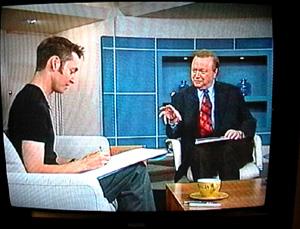 Cartoon Dave hangin' with Bert Newton on Good Morning Australia 1998