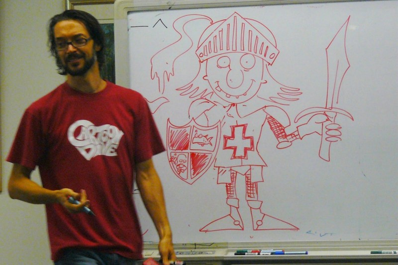 cartoonDave getting nerdy with a knight - Sutherland library 2013